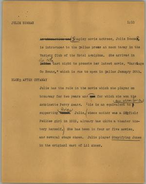 Primary view of object titled '[News Script: Julie Newmar]'.