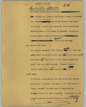 Primary view of object titled '[News Script: Traffic fatals]'.