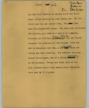 Primary view of object titled '[News Script: Liquor]'.