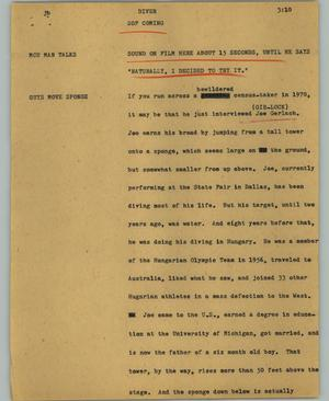 Primary view of object titled '[News Script: Diver]'.