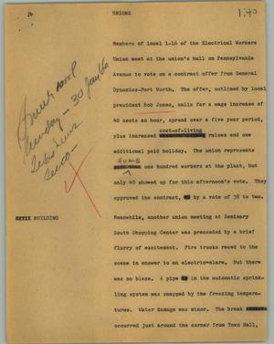 Primary view of object titled '[News Script: Unions]'.
