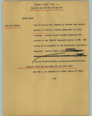 Primary view of object titled '[News Script: General Taylor]'.