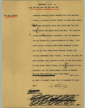 Primary view of object titled '[News Script: Veterans]'.