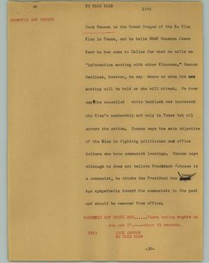 Primary view of object titled '[News Script: Ku Klux Klan]'.