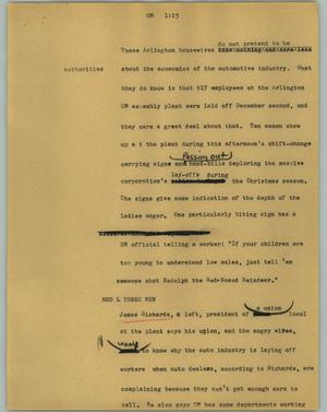 Primary view of object titled '[News Script: GM]'.