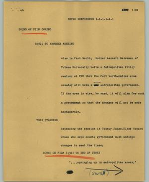 Primary view of object titled '[News Script: Metro conference]'.