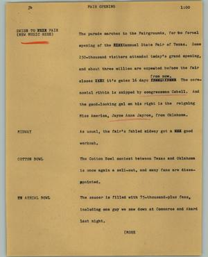 Primary view of object titled '[News Script: Fair opening]'.