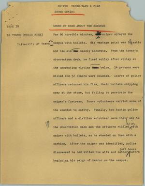 Primary view of object titled '[News Script: Sniper]'.