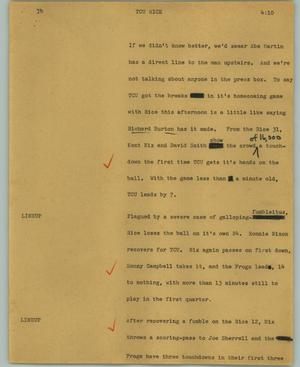 Primary view of object titled '[News Script: TCU Rice]'.