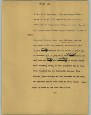 Primary view of object titled '[News Script: Fuller]'.