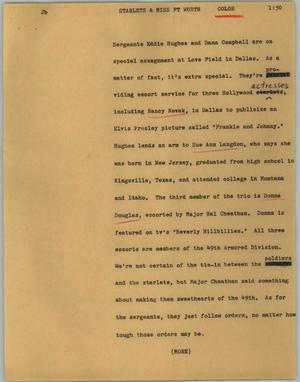 Primary view of object titled '[News Script: Starlets & Miss Ft Worth]'.