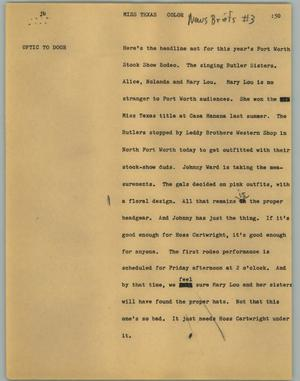 Primary view of object titled '[News Script: Miss Texas]'.