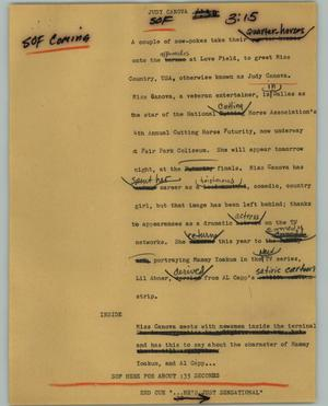 Primary view of object titled '[News Script: Judy Canova]'.
