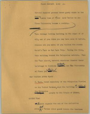 Primary view of object titled '[News Script: Plano College]'.