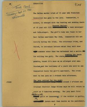 Primary view of object titled '[News Script: Semanovich]'.
