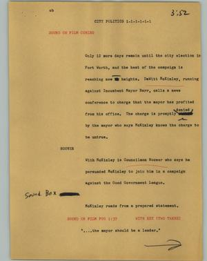 Primary view of object titled '[News Script: City politics]'.