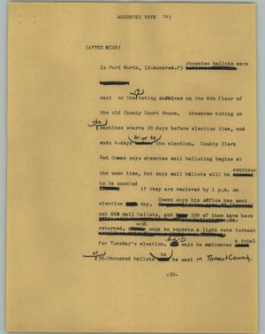 Primary view of object titled '[News Script: Absentee vote]'.