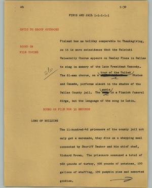 Primary view of object titled '[News Script: Finns and jail]'.