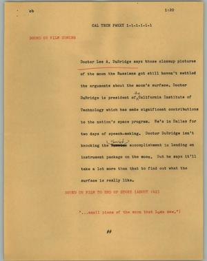Primary view of object titled '[News Script: Cal Tech prexy]'.