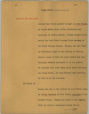 Primary view of object titled '[News Script: Cuban expert]'.