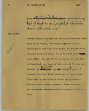 Primary view of object titled '[News Script: New service at ACF]'.