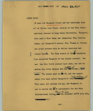 Primary view of object titled '[News Script: Miss Guam]'.