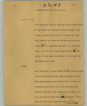 Primary view of object titled '[News Script: Unidentified baby]'.