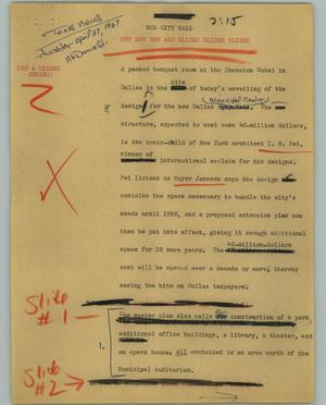 Primary view of object titled '[News Script: New City Hall]'.