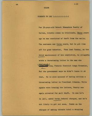 Primary view of object titled '[News Script: Threats to LBJ]'.