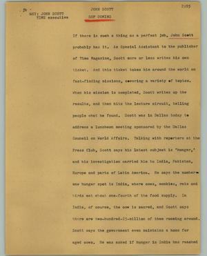 Primary view of object titled '[News Script: John Scott]'.