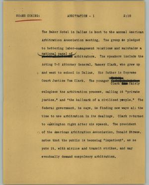 Primary view of object titled '[News Script: Arbitration]'.