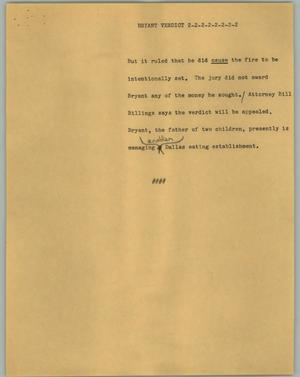Primary view of object titled '[News Script: Bryant Verdict]'.