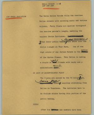 Primary view of object titled '[News Script: Hella parade]'.