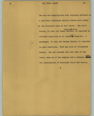 Primary view of object titled '[News Script: Car train crash]'.