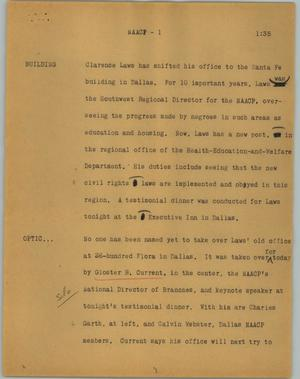 Primary view of object titled '[News Script: NAACP]'.