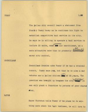 Primary view of object titled '[News Script: Tussy]'.