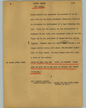 Primary view of object titled '[News Script: Sanger center]'.
