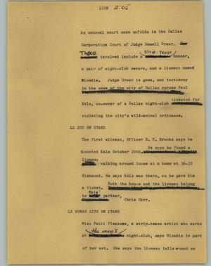 Primary view of object titled '[News Script: Lion]'.