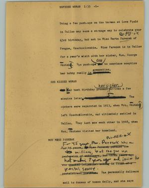 Primary view of object titled '[News Script: Refugee woman]'.