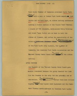 Primary view of object titled '[News Script: Road opened]'.