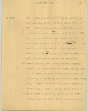 Primary view of object titled '[News Script: Forest Hill fire]'.