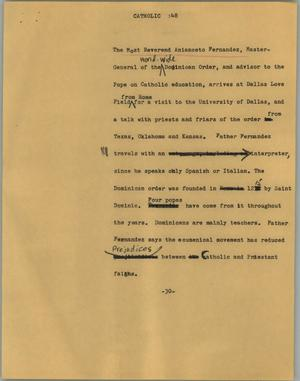 Primary view of object titled '[News Script: Catholic]'.