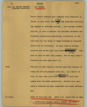 Primary view of object titled '[News Script: Sanford]'.