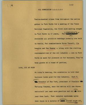 Primary view of object titled '[News Script: Oil commission]'.