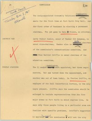 Primary view of object titled '[News Script: Commission]'.