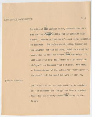 Primary view of object titled '[News Script: High school construction]'.