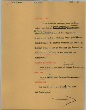 Primary view of object titled '[News Script: Big deal]'.