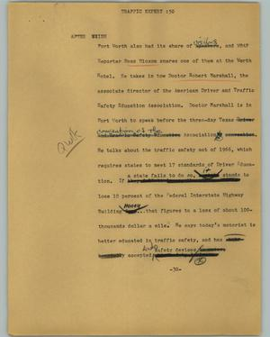 Primary view of object titled '[News Script: Traffic expert]'.