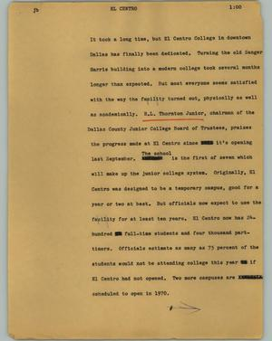 Primary view of object titled '[News Script: El Centro]'.