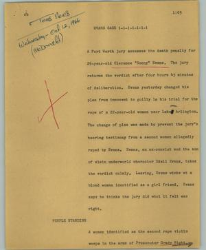Primary view of object titled '[News Script: Evans case]'.